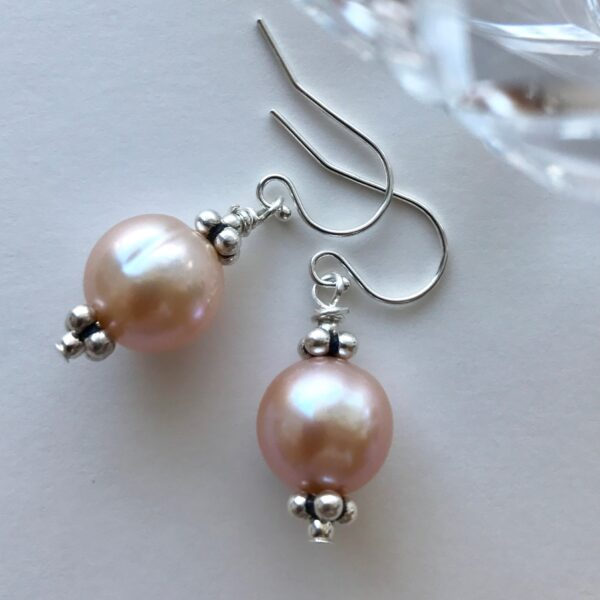 pink cultured pearl earring Peace Within