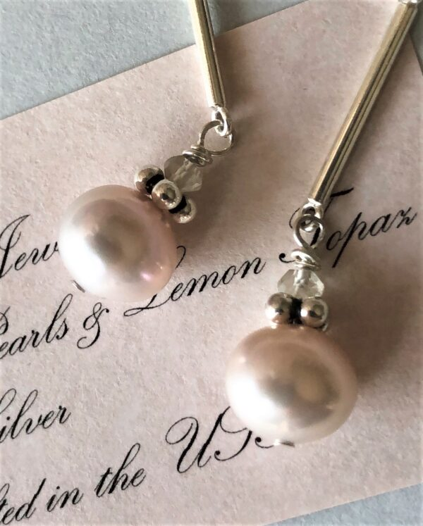 pearl sterling silver dangle earring Peace Within