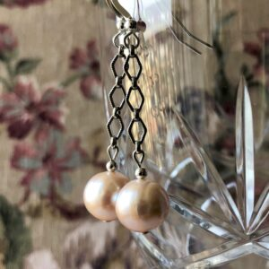 pearl silver chain earring Peace Within