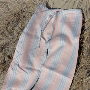 linen pajamas pink blue stripe