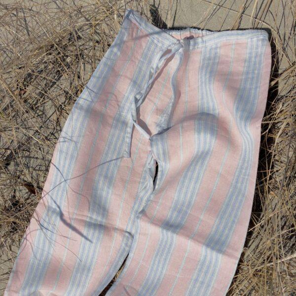 linen pajamas pink blue stripe