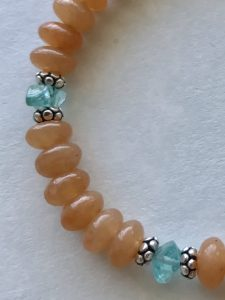 red aventurine turquoise apatite silver bracelet Peace Within