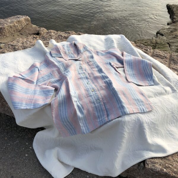 linen pajamas pink stripes