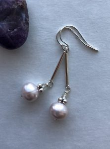 pearl sterling silver earring Peace Within