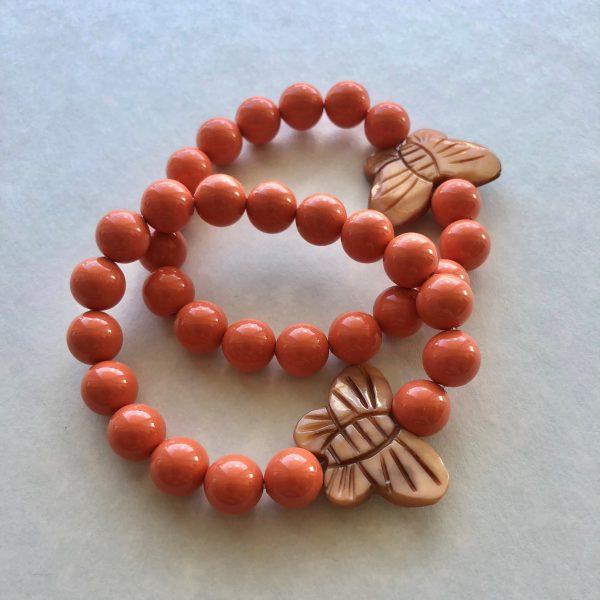 coral swarovski bracelet butterfly Peace Within