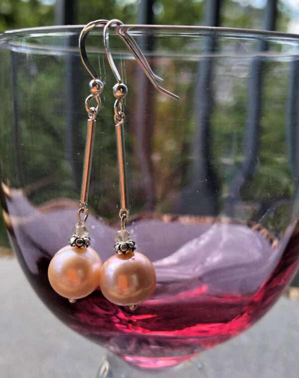 Peace Within jewelry pink pearl sterling dangle earring
