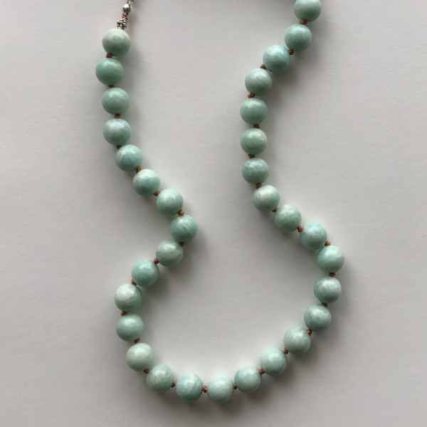 mint beads knotted necklace peace within