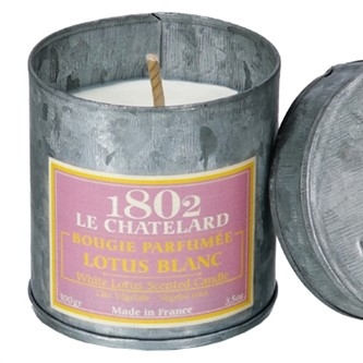 Le Chatelard scented candles white lotus tin