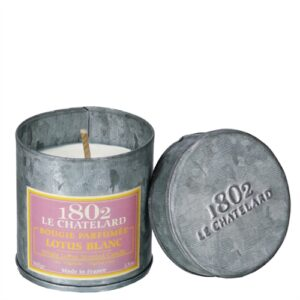 le Chatelard French scented candles in tin White Lotus