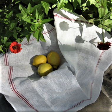 Libeco Red & White Confiture Belgian Linen Kitchen Towel