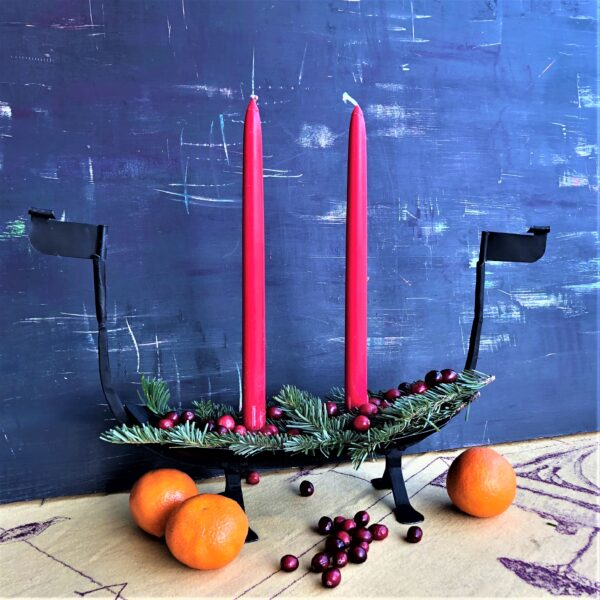 Viking ship candle holder iron made in Sweden