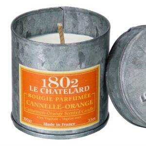Le Chatelard scented candle orange cinnamon tin