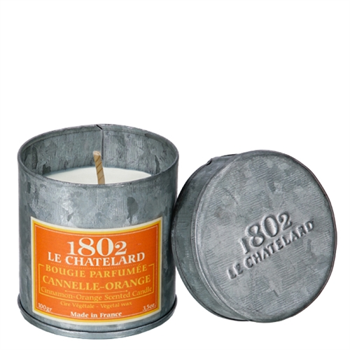 le Chatelard French scented candles in tin orange cinnamon