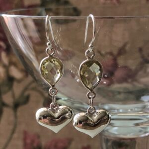 Silver heart earring Peace Within