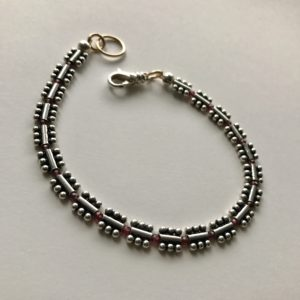 Peace Within Silver Block & Garnet Bracelet