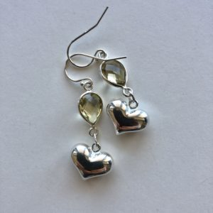 Sterling Heart & Yellow Amethyst Earring Peace Within