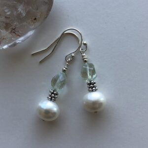 Pearl Green Amethyst Sterling Earring Peace Within