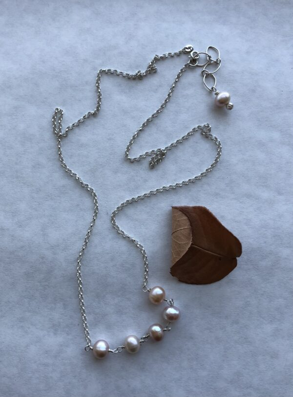 Peace Within Jewelry Five-Pearl silver chain necklace