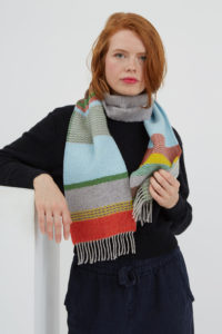 Wallace#Sewell London Lambswool Scarf Blue Grey