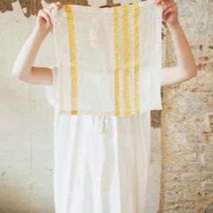 Libeco linen napkins belgian linen library stripe yellow