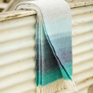 tweedmill wool throw illusion blue turquoise