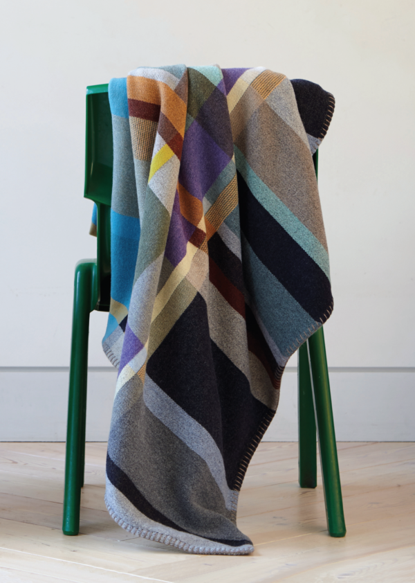 Wallace#Sewell Block Throws River Merino Wool Blanket