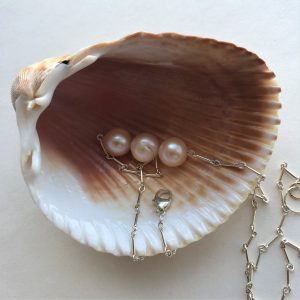 Pearl sterling silver necklace Peace Within