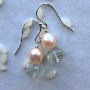 green amethyst pearl earring Peace Within