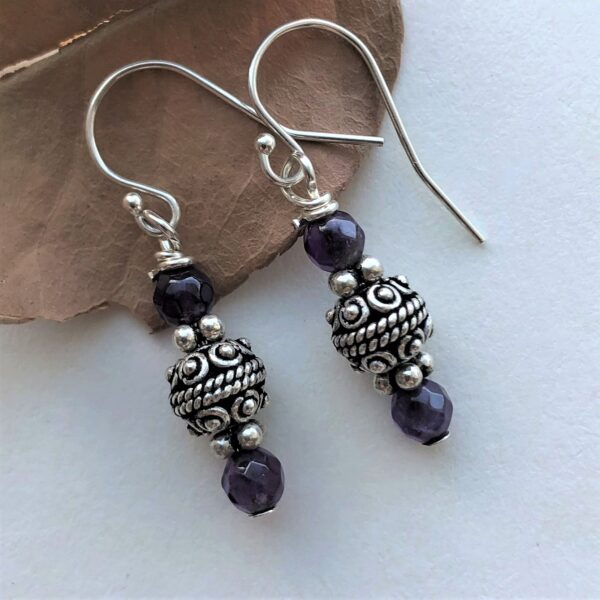 Purple amethyst sterling silver earring Peace Within