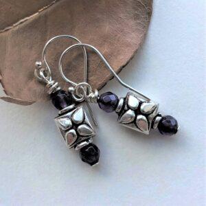 purple amethyst sterling silver earring Peace Within