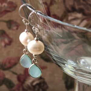 White pearl sea green chalcedony earring Peace Within