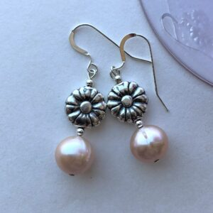 silver flower pearl earring Peace Within