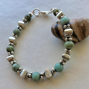 Blue jasper sterling silver bracelet Peace Within
