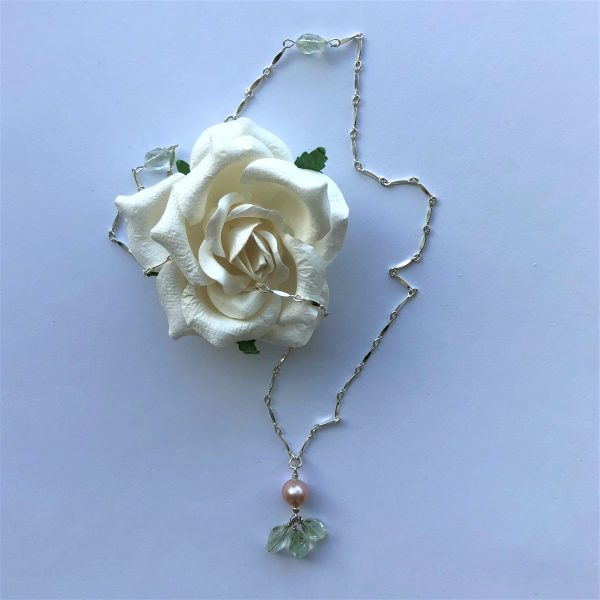 green amethyst pearl sterling necklace Peace Within