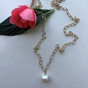 white pearl gold necklace Peace Within