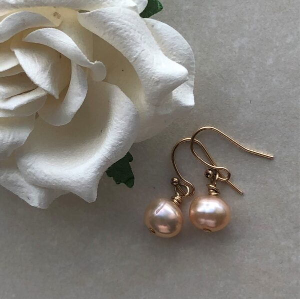 pink pearl earrings Peace Within
