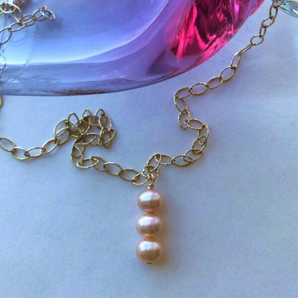 pink pearl gold filled chain Peace Within