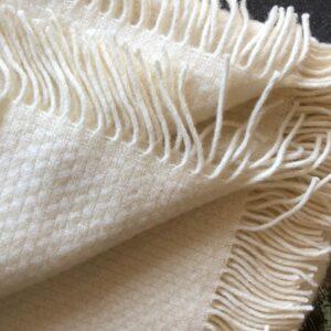 Tweedmill wool throw creamy white