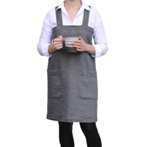 Linen Casa black linen apron