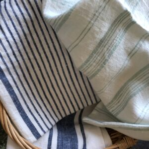 Linen kitchen towels blue stripes Linen Casa