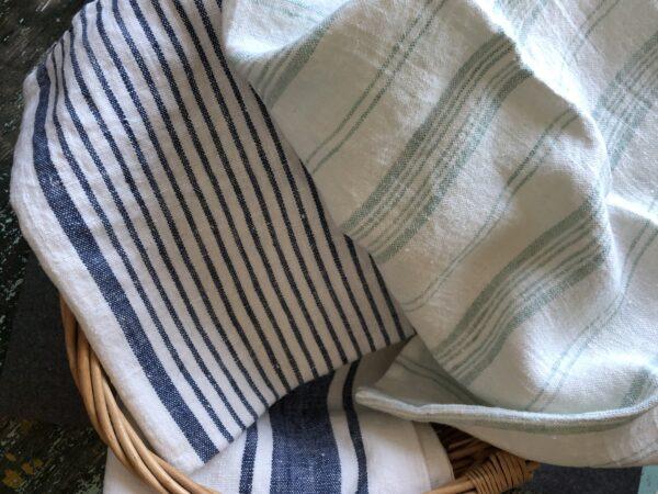 Linen kitchen towels blue stripes Linen Casa