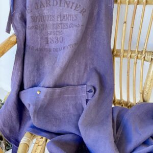 Atelier Costa purple linen aprons made in Spain