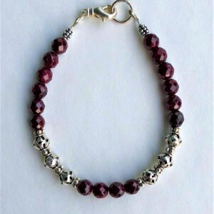 Peace Within red garnet bracelet silver