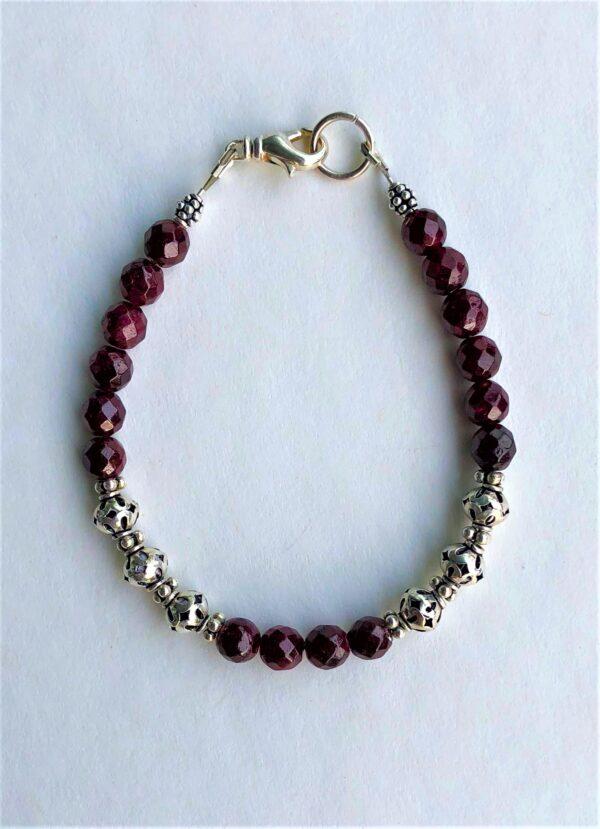 Peace Within red garnet bracelet silver