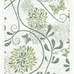 Ekelund Table Runner Organic Cotton Green Flowers