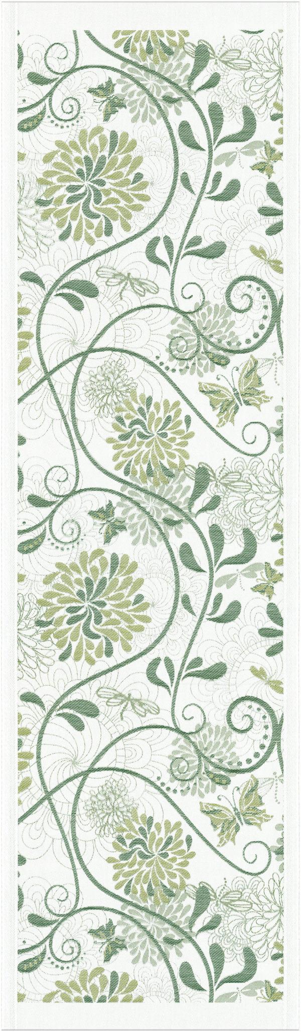 Ekelund Table Runner Organic Cotton Green Flowers