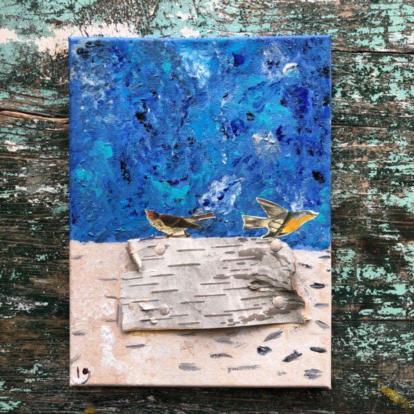 linnea gunnarsson mixed media beach birds birch bark